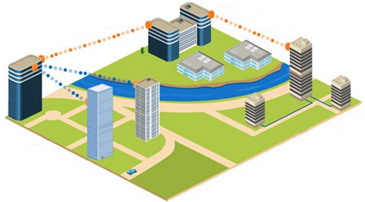 Diagram of multiple buildings on a campus connected by wireless links
